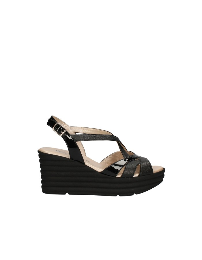 CONFORT Sandals with wedge BLACK